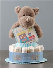 Personalised Hippo Boy Banner Nappy Cake