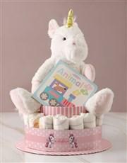 Personalised Baby Girl Unicorn Nappy Cake