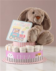Personalised Baby Girl Animal Book Nappy Cake