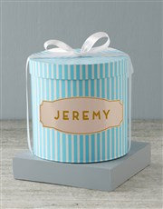 Personalised Blue Striped Baby Clothing Hat Box