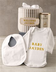 Personalised Blue Welcome Baby Clothing Hat Box