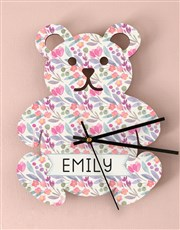 Personalised Floral Baby Nursery Clock