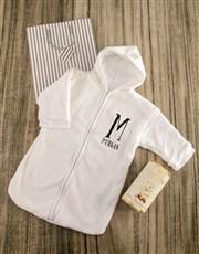 Personalised Baby Sleeping Hamper in White