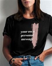 Personalised Pink Brushstroke Ladies T Shirt