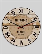 Personalised Vintage Surname Clock