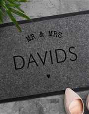 Personalised Mr And Mrs Heart Doormat