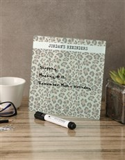 Leopard Glass Reminder Whiteboard