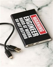 Personalised Warning Black Powerbank