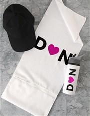 Personalised Heart initial Gym Towel Set