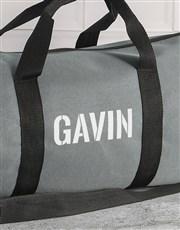 Personalised Stencil Grey Gym Duffel Bag