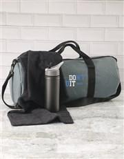 Personalised Do It Grey Gym Duffel Bag