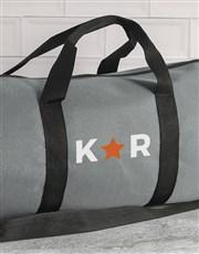 Personalised Star Initials Grey Gym Duffel Bag