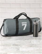 Personalised Team Player Grey Gym Duffel Bag