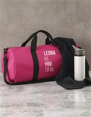 Personalised BeYouTiful Pink Gym Duffel Bag