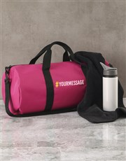 Personalised Message Pink Gym Duffel Bag