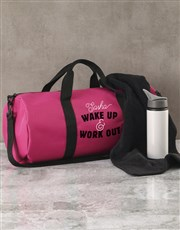 Personalised Wake Up Work Out Pink Gym Duffel Bag
