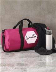 Personalised Hexagonal Pink Gym Duffel Bag