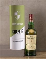 Personalised Glenlivet Whisky Modern Tube