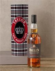 Personalised Bells Whisky Tartan Tube