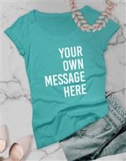 Personalised Aqua Blue Ladies T Shirt