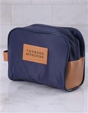 Personalised Mens Navy Blue Wash Bag