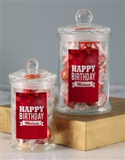 Personalised Red Birthday Lindt Candy Jar