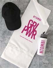 Personalised Girl Power Gym Towel and Bottle