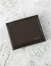 Personalised Suave Brown Leather Wallet