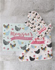 Personalised Checkered Chicks Glass Chopping Board