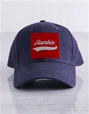 Personalised Navy Swish Peak Cap
