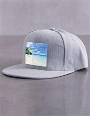 Personalised Grey Photo Peak Cap