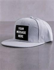 Personalised Grey Slogan Peak Cap