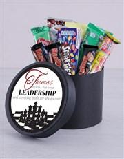 Personalised Leadership Choc Hat Box
