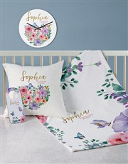 Personalised Floral Baby Bed Set