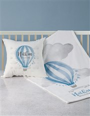 Personalised Blue Air Balloon Bed Set