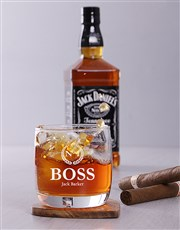 Toast to the number one boss with this whiskey gla