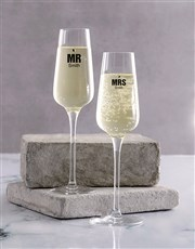 Celebrate Mr and Mrs with a champagne glass set wh