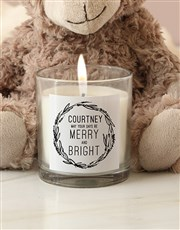 Personalised Merry And Bright Candle