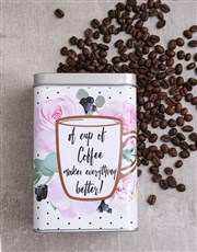 Make everything better with this silver coffee tin