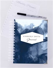 Personalised Blue Watercolour Journal