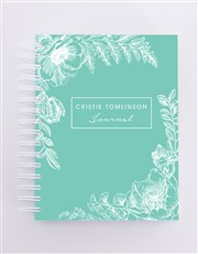 Personalised Green Floral Journal