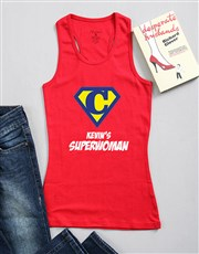 Be his superwoman with this red ladies racer shirt
