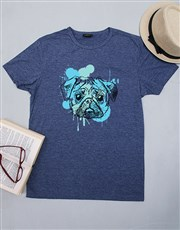 Spoil that pug lover with this navy men's T-shirt