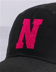 Personalised Black Pink Glitter Peak Cap