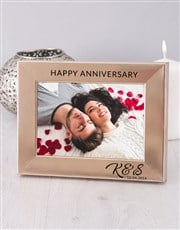 Say Happy Anniversary with a standing gold photo f