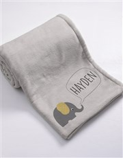 Personalised Elephant Baby Fleece Blanket