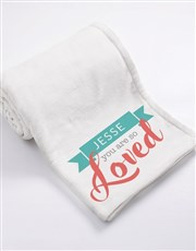 Personalised You Are Loved Baby Fleece Blanket
