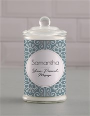 Personalised Blue Pattern Candle Jar