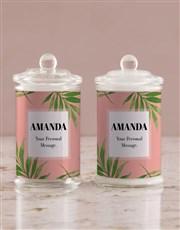 Personalised Bold Leaf Candle Jar