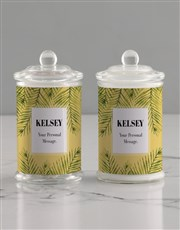 Personalised Painted Leaf Candle Jar